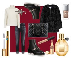 """Christmas Shoping : Outfit Idea"" by andreamartin24601 on Polyvore featuring MANGO, 7 For All Mankind, Topshop, Givenchy, Chanel, Alexander McQueen, Yves Saint Laurent, Viktor & Rolf, Christian Dior and NARS Cosmetics"