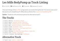 Body Pump 91 Tracklist  From: http://www.siphilp.co.uk/archive/2014/07/30/les-mills-bodypump-91-track-listing-music.aspx