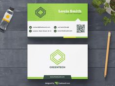 Green minimal business card template - Freebcard