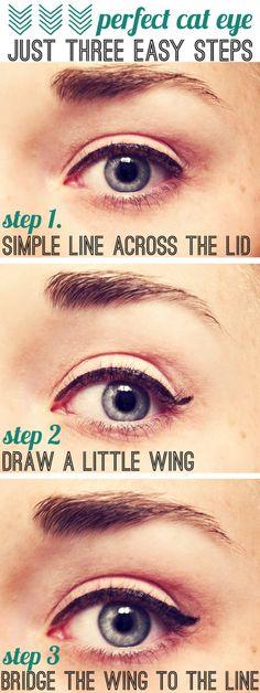 Simple cat eye tutorial. @denise grant DesGranges