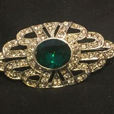 Vintage Art Deco Style Emerald Green Rhinestone Silvertone Pin Brooch 1980's | Jewelry & Watches, Vintage & Antique Jewelry, Costume | eBay!