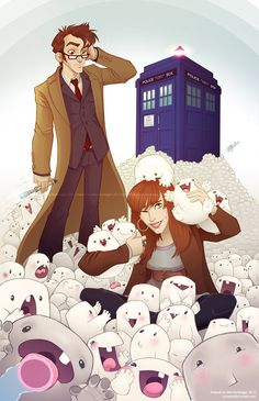 The Doctor and Donna Noble, The ADIPOSE, Doctor Who - this demands to be my new wallpaper Decimo Doctor, Serie Doctor, Doctor Who Art, Eleventh Doctor, Doctor Funny, Dr Who, Sherlock, Film Anime, Donna Noble