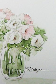 Watercolor Painting of Pink and White Roses Original: