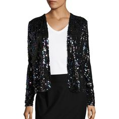 Vero Moda Sequined Jacket ($79) ❤ liked on Polyvore featuring outerwear, jackets, black, open front jacket, shawl collar jacket, vero moda, long jacket and sparkly jacket