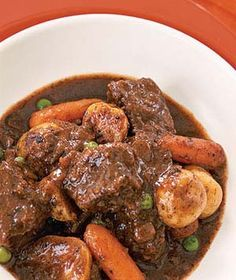 Slow-Cooker Beef Stew.  This Stew has a really delicious  flavour.  Well worth the effort to brown the meat first.