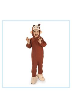 Curious George Small Child's Halloween Costume Brown - Your little monkey will have a ball hunting for tricks-or-treats in this Child's Halloween Costume. This adorable, authentic costume comes complete with a comfortable brown one-piece suit with attached beige feet and character headpiece. Curious George Costume, Brown One Piece, Authentic Costumes, Cute Halloween Costumes, Little Monkeys, One Piece Suit, Trick Or Treat, Headpiece, Hunting