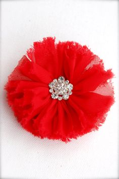 Red flower hair clip by TianaLorance on Etsy, $4.95