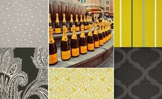 Veuve Cliquot is art in a bottle. Inspired by this magic drink our memo sample team found the appropriate #fabrics to match. #maxwell fabrics
