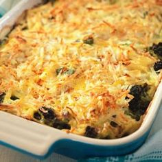 Broccoli, Beef & Potato Hotdish Recipe - easy casserole, full of ground beef, roasted broccoli and topped with hash browns