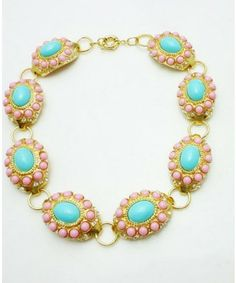 New 2013 Shourouk Luxurious Colourful Gem Crystal Oval Flower Alloy Pendant Necklace Lady Jewelry