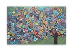 Louise Mead | Tree Painting - Teal, Green, Turquoise, Red, Gold | Online Store Powered by Storenvy