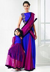 Magenta N Blue Mother Daughter Combo