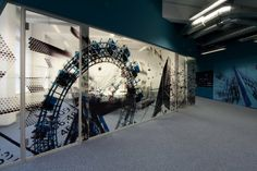 conference room window film graphic, working from a b&w photo of a ferris wheel with an interesting angle.