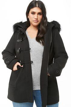 fd3d859d60a7f Plus Size Faux Fur-Trim Toggle Coat Fur Trim