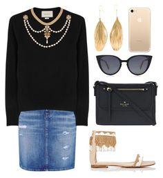 """""""Untitled #122"""" by tazkiasaras on Polyvore featuring Hallhuber, Gucci, Gianvito Rossi, Aurélie Bidermann, Kate Spade and Fendi"""