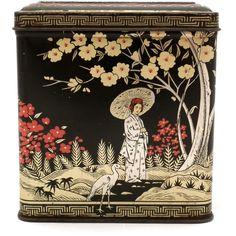 Vintage Black Floral Tin - Tea Canister - Asian Tin - Japanese Design - Japan Tin - Asian Style - Decorative Tin - Storage Tin (15 AUD) found on Polyvore