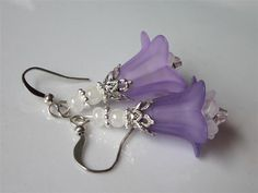 Lilac Flower EarringsLucite Lilac and White by DanglingDesigns, $15.00