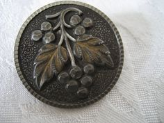 Large VINTAGE Grape Cluster Silver Metal BUTTON by abandc on Etsy, $16.99