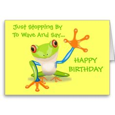 Cute Frog Funny Animal Kids Happy Birthday Greeting Cards Mom