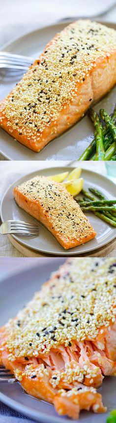 Sesame Salmon - juicy salmon marinated with soy sauce, Thai sweet chili sauce, honey, vinegar and coated with sesame. Healthy dinner for the family | rasamalaysia.com