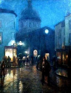 A Steady Drizzle ~ Norman Garstin 1889-Similar to my favorite painting at the Art Institute-Rainy Day in Paris-Lovely