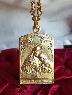 18K Gold Plated Silver Spanish Art Nouveau Jesus Christ Medal Eucharist St. John  Catholic Jewelry Religious Gift First Communion Medal by SacredBarcelona on Etsy