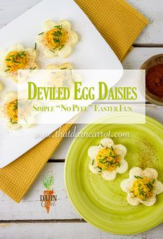 No peel easter themed deviled eggs? Sign me up! This recipe removes all the hard boiling and peeling, and hops in some Easter fun.