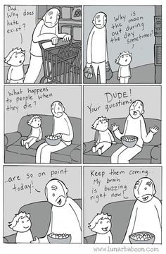 Dad's Sweet Comics Promote Empathy, Tolerance And Love Funny Cute, Hilarious, The Awkward Yeti, 4 Panel Life, Life Comics, Baboon, Faith In Humanity, Funny Comics, Comic Strips