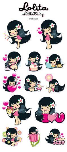 Lolita icon set by Charuca Vargas, via Behance