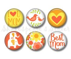 Mom Magnets - Fridge Magnets - Gift for Mom - 6 Magnets - 1.5 Inch Magnets - Kitchen Magnets by ShakespearesSisters on Etsy