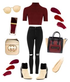 """Maroon x gold"" by claracintyd on Polyvore featuring Topshop, Glamorous, CÉLINE, Linda Farrow, Tom Ford, Ellis Faas, Gucci and Hourglass Cosmetics"