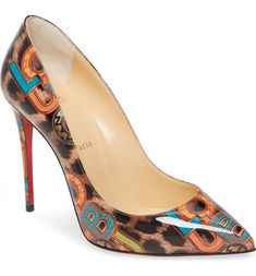 Jazzy logo letters overlay a leopard print on a glossy, playfully chic pump with a daring stiletto heel and that iconic Louboutin-red sole Red Louboutin, Christian Louboutin Shoes, Leopard Heels, Black Heels, High Heels, Pointed Toe Pumps, Stiletto Heels, Shoe Releases, Nordstrom Shoes