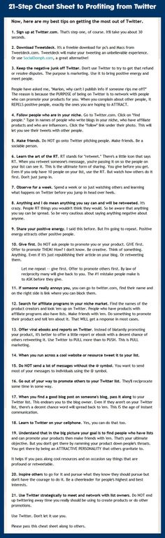 21-Step Cheat Sheet to Profit from Twitter Cheat Sheets, Infographic, 21st, Writing, Twitter, Health, Infographics, Health Care, Being A Writer