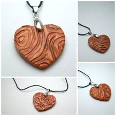 Clay Wood Heart Necklace  Hand carved to look by KOCOandVIKING, $16.00