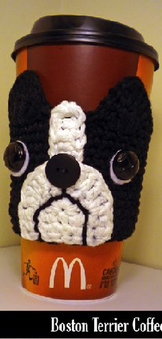 Boston Terrier Coffee Cozy Crochet Pattern-gift from snooze and Gus to everyone at Christmas? ::: I love Bostons and I want to make this. Crochet Coffee Cozy, Crochet Cozy, Crochet Gifts, Crochet Fall, Free Crochet, Coffee Cozy Pattern, Knitting Patterns, Crochet Patterns, Crochet Ideas