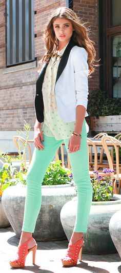 Contrast blazer paired with a pop of mint