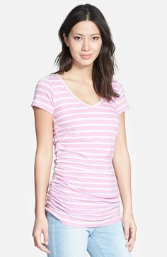 Caslon® Shirred V-Neck Tee (Regular & Petite) available at #Nordstrom