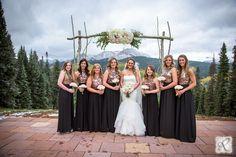 beautiful bridal party photography // black and gold bridesmaid dresses