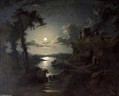 Scène éclairée par la lune de l estuaire de Abraham Pether (1756-1812, United Kingdom)