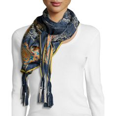 Johnny Was Kai Silk Printed Scarf (€89) ❤ liked on Polyvore featuring accessories, scarves, multi, square silk scarves, johnny was collection, square scarves, floral shawl and pure silk scarves