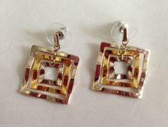 "Square Jingle Earrings Jewelry Triple plated Metal 1"" L x 0.75"" W Handmade Gifts #Handmade #DropDangle"