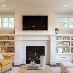 35 Cozy Fireplace Makeover Ideas for Your Living Room - Homegzn Bookshelves Around Fireplace, Built In Around Fireplace, Fireplace Windows, Fireplace Built Ins, Home Fireplace, Bookshelves Built In, Living Room With Fireplace, Fireplace Surrounds, New Living Room
