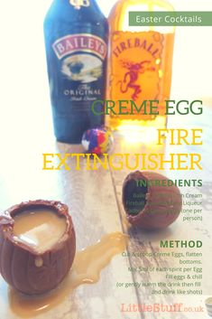 I'm not fond of chocolate drinks - but a cocktail which could be served IN chocolate? Oh my yes. I give to you... The 'Fire Extinguisher' Easter Cocktail