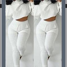 Quilted White Sweater Crop Top Two Piece Only worn once. Fits a sz small. Purchased from a boutique. Not sure the brand Missguided Sweaters Cowl & Turtlenecks