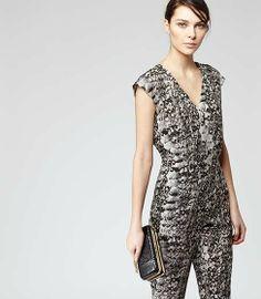 Reiss Monica snake print jumpsuit in Black / White #Reiss # SS14