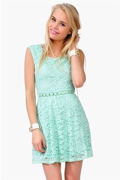 mint dress with lace overlay