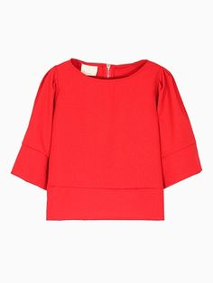Red Crop Top with Puff Sleeves #red #crop top