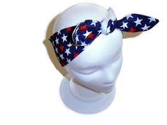 USA Headband, Rockabilly, Patriotic, Dolly Bow, Head Wrap, Bandana, Knotted Headband, Neck Scarf, Red & White Stars $9.00 #patriotic #dollybowheadband #rockabilly, #bandana