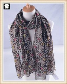 Colorful geo polyester scarves for women