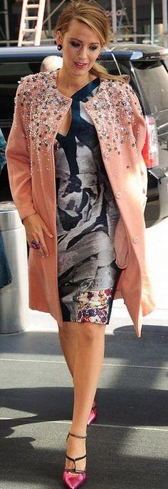Blake Lively: Coat – Jenny Packham  Dress – Antonio Beradrdi  Shoes – Malone Souliers